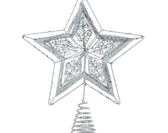 Silver Glitter Tree Topper - Home Décor - Ornaments - Fair Trade