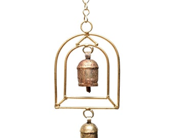 Temple Bell Chime - Metal Wind Chimes - Garden Decoration - Fair Trade - Home Decor