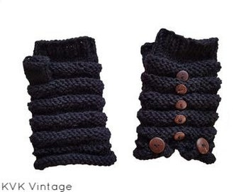 Black Wool Knit with Wooden Button Hand-warmers - Hand-warmers - Knit Mittens - Finger-less Gloves -   Wool Gloves - Wool Mittens