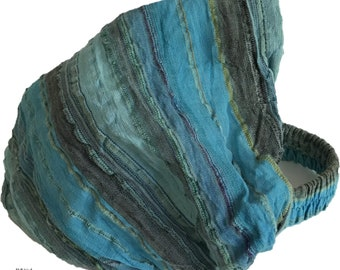 Blue Multi-Stripe Headband - Bohemian Headband - Boho Head Wrap - Fair Trade - Wide Headband - Hippie Headwrap