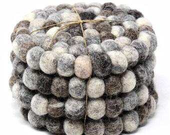 Mixed Grey Felt Ball Coasters (Set of 4 ) - Wool Coasters - Drink Coasters - Fair Trade - Kitchen - Dining