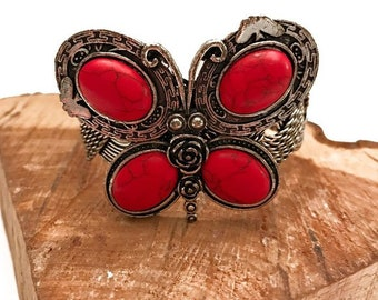 Faux Red Coral Butterfly Cuff Bracelet -  Bohemian Bracelets - Wide Cuff Bracelet - Cuff Bracelets - Bohemian Jewelry