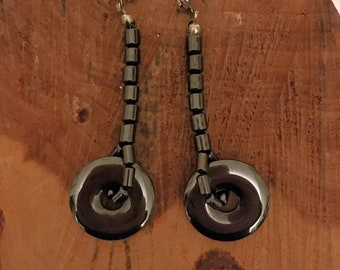 Hematite Disc Earrings - Hematite Earrings - Hematite Jewelry - Earrings - Hematite Dangle Earrings - Hematite Drop Earrings - Hematite