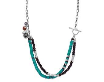 Multi Stone Southwestern Necklace -  Gemstone Necklace - Bohemian Necklaces - Bohemian Jewelry