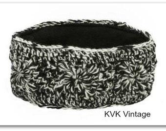 Black & White Hand Knit Wool Headband - Headbands - Hand Knit Headbands - Hand Knit - Hair - Accessories - Wool Headbands - Fall Headbands