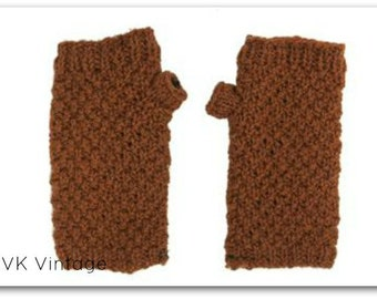Rust Wool Knit Hand-warmers - Hand-warmers - Hand Knit - Gloves - Finger-less Gloves -  Accessories