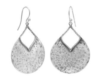 Oxidized Hammered Pear Shape Earrings - Boho Jewelry - Boho Earrings - Bohemian Jewelry - Hammered Earrings