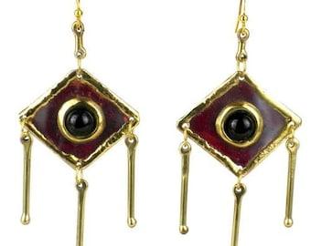 Brass Diamond Shape Earrings - Earrings - Fair Trade - Dangle Earrings - Drop Earrings - Black Onyx