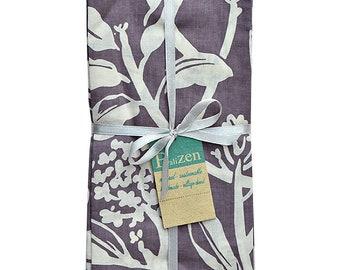 Frangipani Purple Silk Screen Napkins Sets of 4 - Fabric Napkins - Fair Trade - Cotton Napkins - Kitchen & Dining