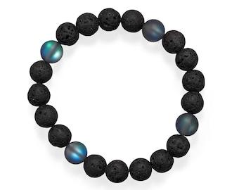 Men's Black Lava & Glass Bead Stretch Bracelet -  Men's Beaded Bracelets - Men's BOHO Bracelets