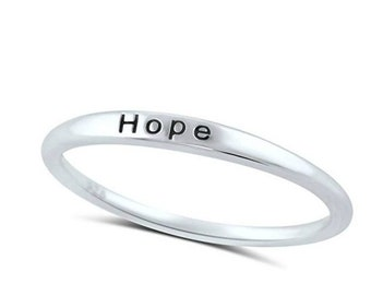"""Sterling Silver """"HOPE"""" Ring - Band Ring - Hope Ring - Word Ring - 1.5mm Sterling Silver Ring - Stamped  Ring - Inspiring Ring"""
