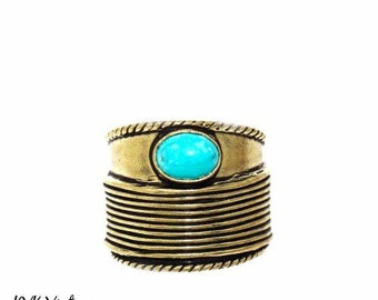 Turquoise Stone Adjustable Ring - Chunky Ring - Brass Ring - Bohemian Jewelry - Statement Rings