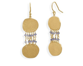 14 Karat Gold Plated Lolite Textured Disk Earring - Disk Earrings - Boho Earrings - Round Earrings - Statement Earrings