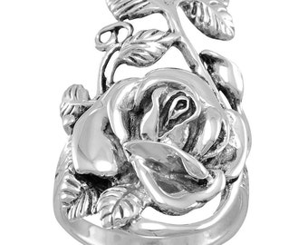 Sterling Oxidized Rose Ring - Statement Ring - Silver Flower Ring