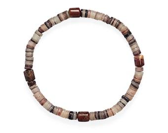 Men's Shell Heishi and Jasper Stretch Bracelet -  Men's Beaded Bracelets - Men's BOHO Bracelets