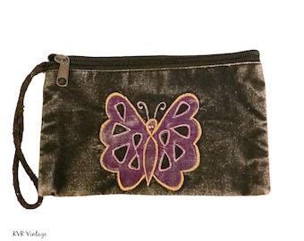 Black Butterfly Wristlet Coin Purse - Change Purse - Coin Pouch - Wristlet Purse