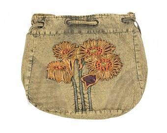 Sunflower Hobo Crossbody Drawstring Bag - Hobo Bags - Boho Bag - Handmade Bag