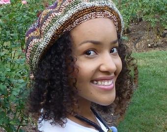 Beret Hat Earth Tone - French Beret - Tam Hat - Crochet Hat
