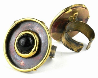 Onyx Brass and Copper Ring - Boho Ring - Statement Ring - Ethnic Ring - Bohemian Jewelry