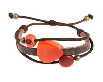 San Rogue Leather Wrap Bracelet - Boho Bracelet - Adjustable Bracelet - Leather Cuff - Bohemian Jewelry