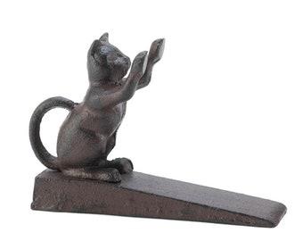 Cast Iron Cat Scratching Door Stop - Door-Stopper - Animal Door Stopper - Home Decor