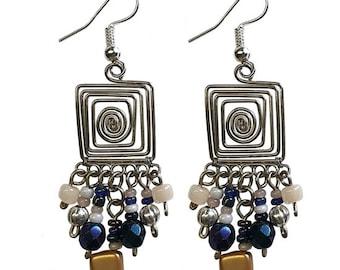Square Wire Helix Earrings - Boho Earrings - Statement Earrings - Bohemian Jewelry