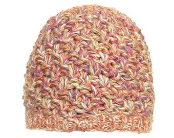 Pink Mix Wool Knit Hat - Handmade Hat - Knit Hat - Womens Knit Hat - Wool Hat
