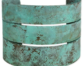 Turquoise Patina Wide Cuff Bracelet -  Boho Bracelet - Hippie Cuff Bracelet - Bohemian Jewelry