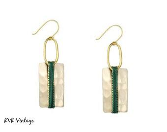 Boho Silver Patina Rectangle Earrings - Boho Earrings - Dangle Earrings - Ethnic Earrings - Bohemian Jewelry