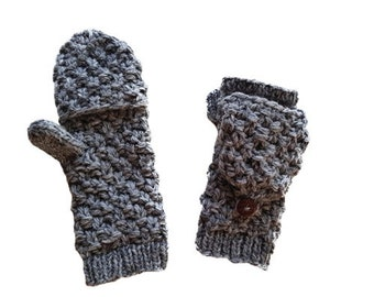 Gray 4 Ply Wool Knit Mitten Gloves - Hand Warmers - Fingerless Gloves - Knitted Gloves