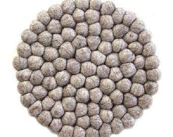 Light Grey Felt Ball Trivet - Wool Trivets - Fair Trade - Trivets - Kitchen & Dining