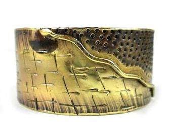 Wide Mixed Metal Brass Cuff Bracelet - Boho Bracelet - Cuff Bracelet - Bohemian Jewelry