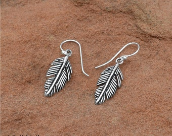 South West Sterling Feather Earrings  - Boho Earrings - Feather Earrings - Sterling Earrings - Bohemian Jewelry