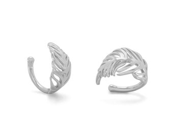 Feather Ear Cuff - Sterling Silver Ear Cuff - Cartilage Cuff - Upper Ear Cuff - Bohemian Jewelry
