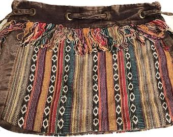 Striped Hobo Tibetan Drawstring Bag - Hobo Bags - Boho Bag - Handmade Bag
