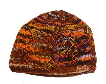 Colorful Wool Hand Knit Hat - Handmade Hat - Knit Hat - Womens Knit Hat - Wool Hat