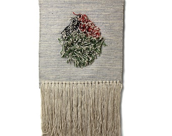 Handwoven Boho Wall Hanging Blue Grey with Fringe - Wall Décor - Macramé Wall Art - Wall Tapestry