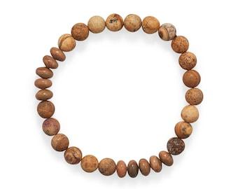 Picture Jasper Stretch Bracelet - Boho Bracelet - Mens Bracelet - Mens Jewelry