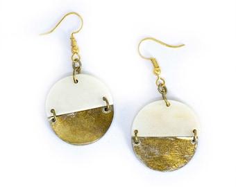 Circle Horn Brass Dangle Earrings - African Earrings - Brass Earrings - Horn Earrings - Bohemian Jewelry