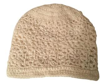 Off White Wool Knit Hat - Handmade Hat - Knit Hat - Womens Knit Hat - Wool Hat