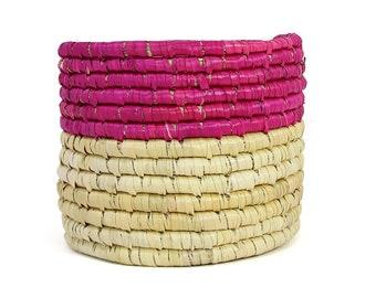 Dried Grass Basket Pink and - Woven Basket - Storage Basket - Baskets - Handmade Basket