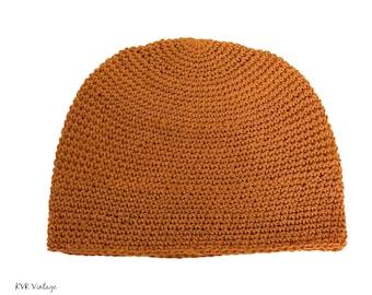 Mustard Kufi Skull Cap - Crocheted Beanie Hat - Fair Trade