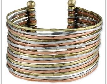 Wide Hammered Mixed Metal Cuff Bracelet - Boho Bracelet - Cuff Bracelet - Bohemian Jewelry
