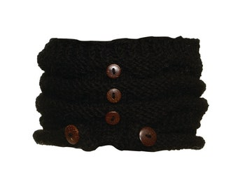 Black Wool Knit Headband with Wood Buttons - Knitted Headband - Headbands for Women - Wool Headband - Wide Headband