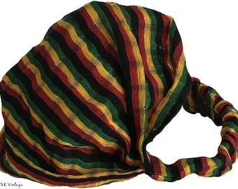 Guatemalan Rasta Striped Headband #2 - Boho Headband – Headbands for Women – Hippie Headband – Head Wrap – Hair Scarf