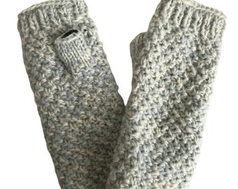 Blue & White Wool Knit Hand Warmers - Hand Warmers - Fingerless Gloves - Knitted Gloves