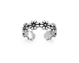 Flower Sterling Toe Ring - Toe Rings - Adjustable Toe Ring - Silver Toe Ring - Toe Rings for Women