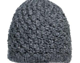 Gray Wool 4 Ply Beanie Knit Cap - Handmade Hat - Knit Hat - Womens Knit Hat - Wool Hat
