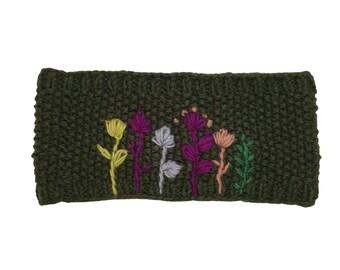 Wool Knit Green Flower Headband - Knitted Headband - Headbands for Women - Wool Headband - Wide Headband
