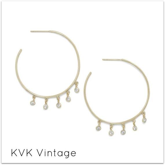 14 Karat Gold Plated Dangling CZ Hoops